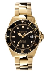 Gigandet Automatik Herren-Armbanduhr Sea Ground Taucheruhr Uhr Datum Analog Edelstahlarmband Schwarz Gold G2-004 -