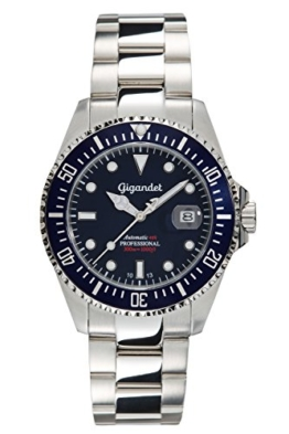 Gigandet Automatik Herren-Armbanduhr Sea Ground Taucheruhr Uhr Datum Analog Edelstahlarmband Blau Silber G2-009 -