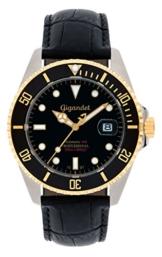 Gigandet Automatik Herren-Armbanduhr Sea Ground Taucheruhr Uhr Datum Analog Lederarmband Schwarz G2-018 -
