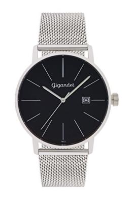 Gigandet Herren-Armbanduhr Minimalism Quarz Uhr Analog Milanaise Edelstahlarmband Schwarz Silber G42-006 -