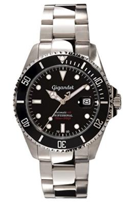 "Gigandet Herren Automatik-Armbanduhr ""Sea Ground"" Analog Edelstahlarmband Schwarz Silber G2-002 -"