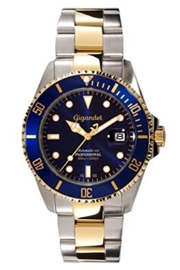 """Gigandet Herren Automatik-Armbanduhr """"Sea Ground"""" Analog Edelstahlarmband Blau Gold G2-001 -"""
