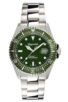 """Gigandet Herren Automatik-Armbanduhr """"Sea Ground"""" Analog Edelstahlarmband Grün Silber G2-008 -"""
