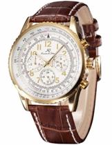 KS Herren Armbanduhr Automatik Mechanik Uhr mit Braun Armband aus Leder KS161 -