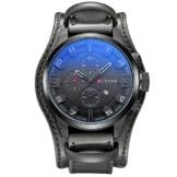 XLORDX Curren Herren Armbanduhr Chronograph Datum Blau Glas Leder Schwarz Quarz Analog Sportuhr Schwarz -