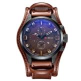 XLORDX Curren Herren Armbanduhr Chronograph Datum Blau Glas Leder Braun Quarz Analog Sportuhr -