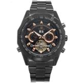 XLORDX Luxus Herren Datum Mechanische Automatik Uhr Skelett Schwarz Edelstahl Armbanduhr Sportuhr Schwarz -