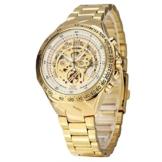 XLORDX Luxus Herrenuhr Mechanische Automatik Uhr Römisch Skelett Gold Edelstahl Armbanduhr Sportuhr Weiß -