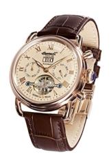 Ingersoll Armbanduhr Herrenuhr Automatik Ellsworth - Analoge Uhr mit Datum, braunem Lederarmband und champagnerfarbenem Zifferblatt - 50m/5atm - IN8210RG -