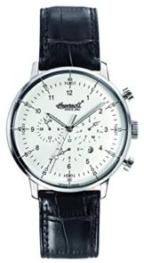 Ingersoll Herren Automatik Uhr mit weißem Zifferblatt Chronograph-Anzeige und schwarzes Lederband Herren -
