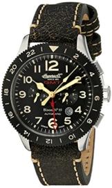 Ingersoll Unisex Automatik Uhr mit schwarzem Zifferblatt Analog-Anzeige und schwarz Lederband in3224bk -