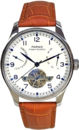 PARNIS Automatikuhr Modell 2037, mit SeaGull-Uhrwerk, Kalbslederarmband, Herrenuhr mit offener Unruhe, doppelseitig verglast -