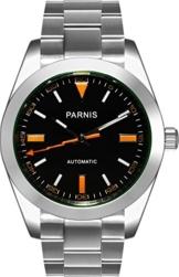 PARNIS Herren Armbanduhr 2095 Automatikuhr Ø39mm Saphirglas massiv Edelstahl 5BAR schwarz orange -
