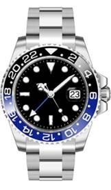 PARNIS Herren Automatikuhr 2034 Black & Blue GMT Saphirglas Ø40mm massiv Edelstahl Armbanduhr Datumsanzeige Keramik Lünette -