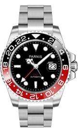 PARNIS Herren Automatikuhr 2034 BLACK & RED GMT Saphirglas Keramiklünette Datumsanzeige Ø 40mm massiv Edelstahl 5BAR -