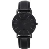 XLORDX Classic Herren Damen All Black Quarz Armbanduhr Elegant Quarzuhr Uhr Modisch Zeitloses Design Klassisch Schwarz Leder -