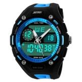 XLORDX Digital Armbanduhr LED Sportuhr Stoppuhr Wecker Wasserdicht Quarzuhr Taschenuhren Blau -