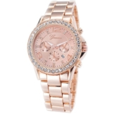 XLORDX Geneva Designer Datum Strass Damenuhr Rosegold Uhr Chronograph Optik Rose Rot Gold Rotgold Strassuhr -