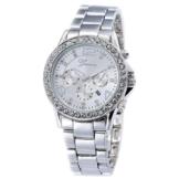 XLORDX Geneva Designer Datum Strass Damenuhr Silber Uhr Chronograph Optik Silber Strassuhr -