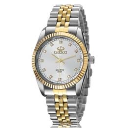 XLORDX Herren Armbanduhr Analog Quarz Strass Silber Gold Uhr mit Edelstahl Armband Weiß Zifferblatt -