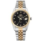XLORDX Herren Armbanduhr, Business Casual Analog Quarz Datum Gold Uhr mit Edelstahl Armband, Schwarz Zifferblatt -