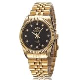 XLORDX Herren Armbanduhr, Business Casual Analog Quarz Gold Uhr mit Edelstahl Armband, Schwarz Zifferblatt -