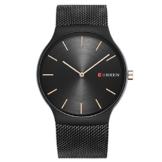 XLORDX Luxus Herren Sport Armbanduhr Minimalistic Analog Quartz Ultra dünn Schwarz Edelstahl Mesh Band Uhren -