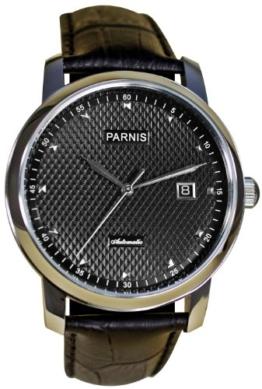 PARNIS Automatik Herrenuhr Modell 2008 mechanische Armbanduhr Lederarmband Edelstahl, von LIV MORRIS - 1