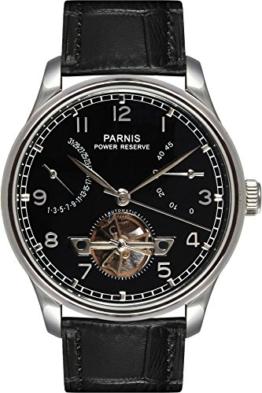 PARNIS Automatikuhr Modell 2094, mit SeaGull-Uhrwerk, Kalbslederarmband, Herrenuhr mit offener Unruhe, doppelseitig verglast - 1
