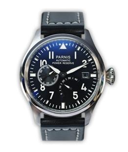 PARNIS mechanische Automatikuhr Modell 2055 Fliegeruhr Edelstahl Lederarmband SeaGull Markenuhrwerk Datums- und Gangreserve-Anzeige - 1