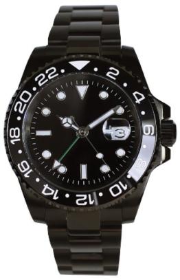 PARNIS Modell 2032 GMT Automatik Herrenuhr Edelstahlgehäuse und Armband Ø41mm Datumslupe Datumsanzeige zweite Zeitzone - 1